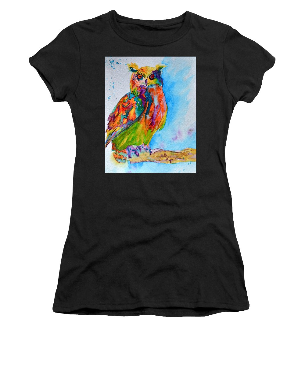 Owl Women's T-Shirt featuring the painting A Hootiful Moment In Time by Beverley Harper Tinsley