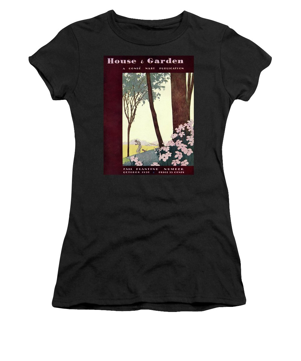 Illustration Women's T-Shirt featuring the photograph A House And Garden Cover Of A Rural Scene by Pierre Mourgue