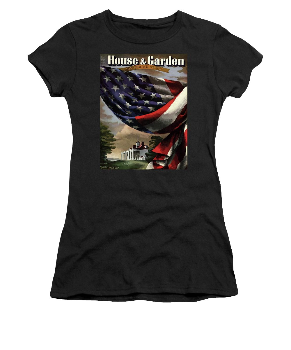 Illustration Women's T-Shirt featuring the photograph A House And Garden Cover Of An American Flag by Allen Saalburg