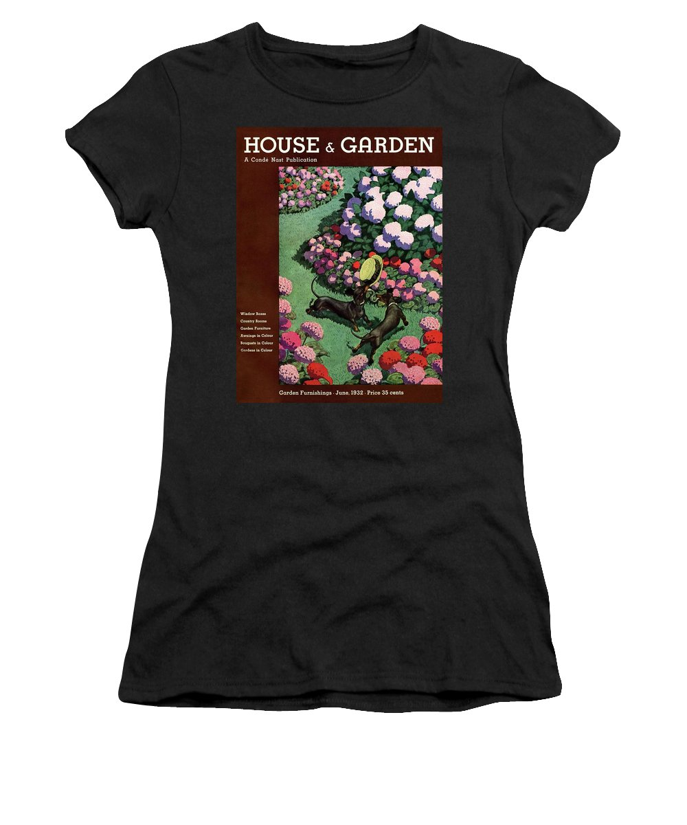 Illustration Women's T-Shirt featuring the photograph A House And Garden Cover Of Dachshunds With A Hat by Pierre Brissaud