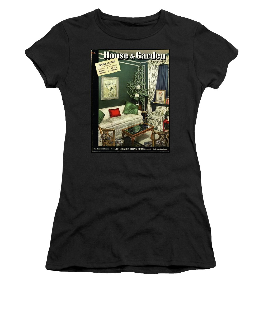 Home Accessories Women's T-Shirt featuring the photograph A House And Garden Cover Of Lady Mendl's Sitting by Urban Weis