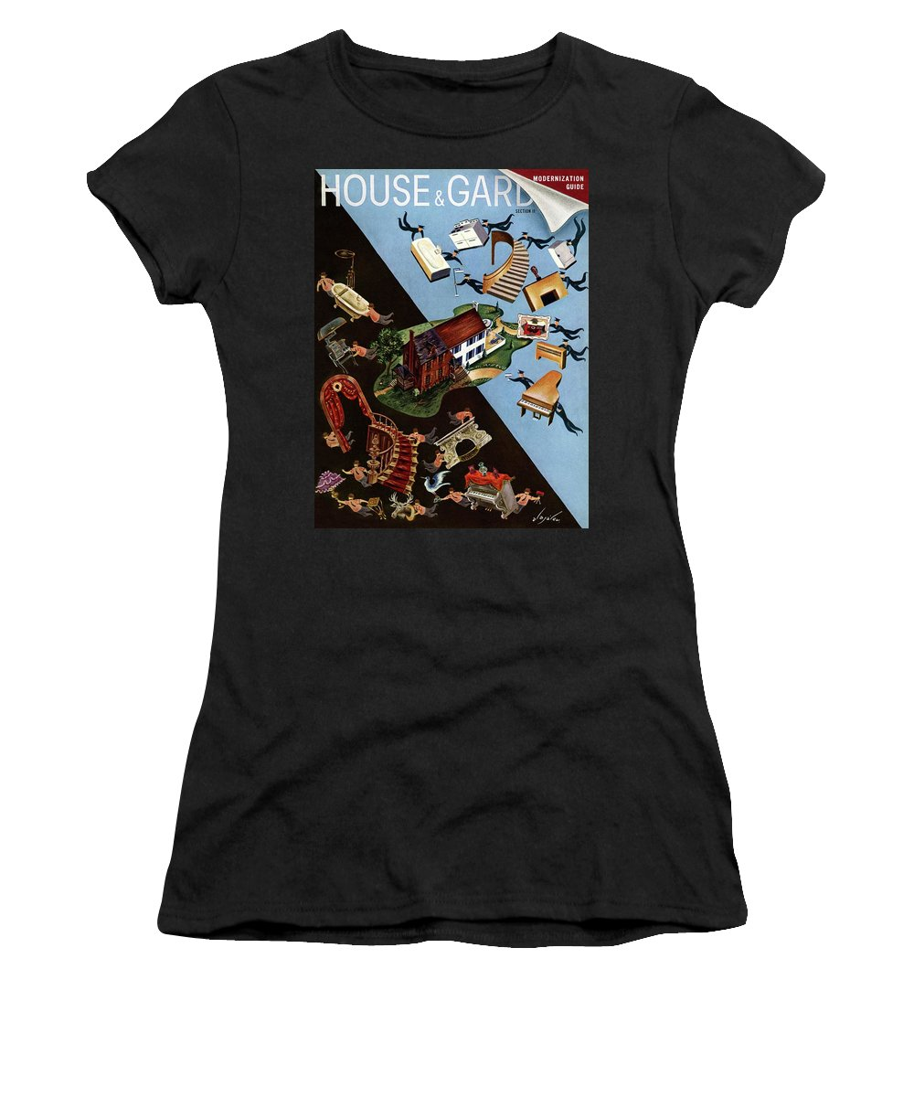Illustration Women's T-Shirt featuring the photograph A House And Garden Cover Of People Moving House by Constantin Alajalov