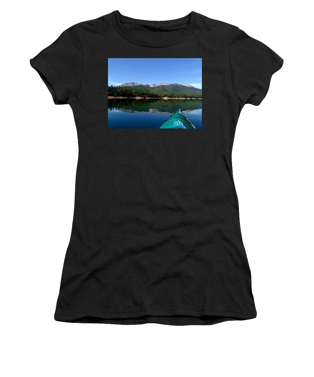 Pikes Peak Women's T-Shirt (Athletic Fit) featuring the photograph A Kayaking Calm by Carol Milisen