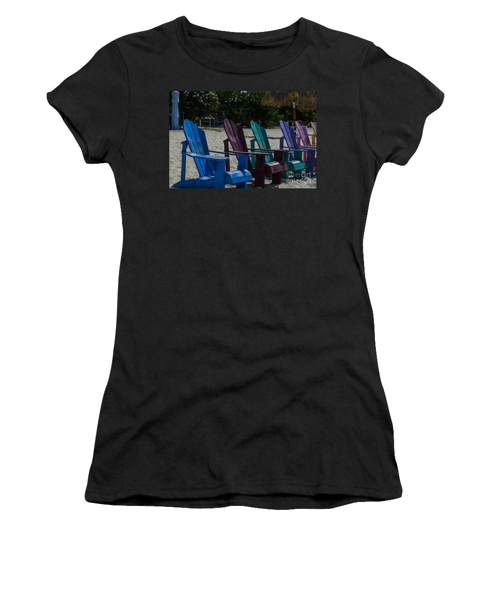 Beach Chairs Women's T-Shirt (Athletic Fit) featuring the photograph A Line Up Of A Different Color by Judy Wolinsky