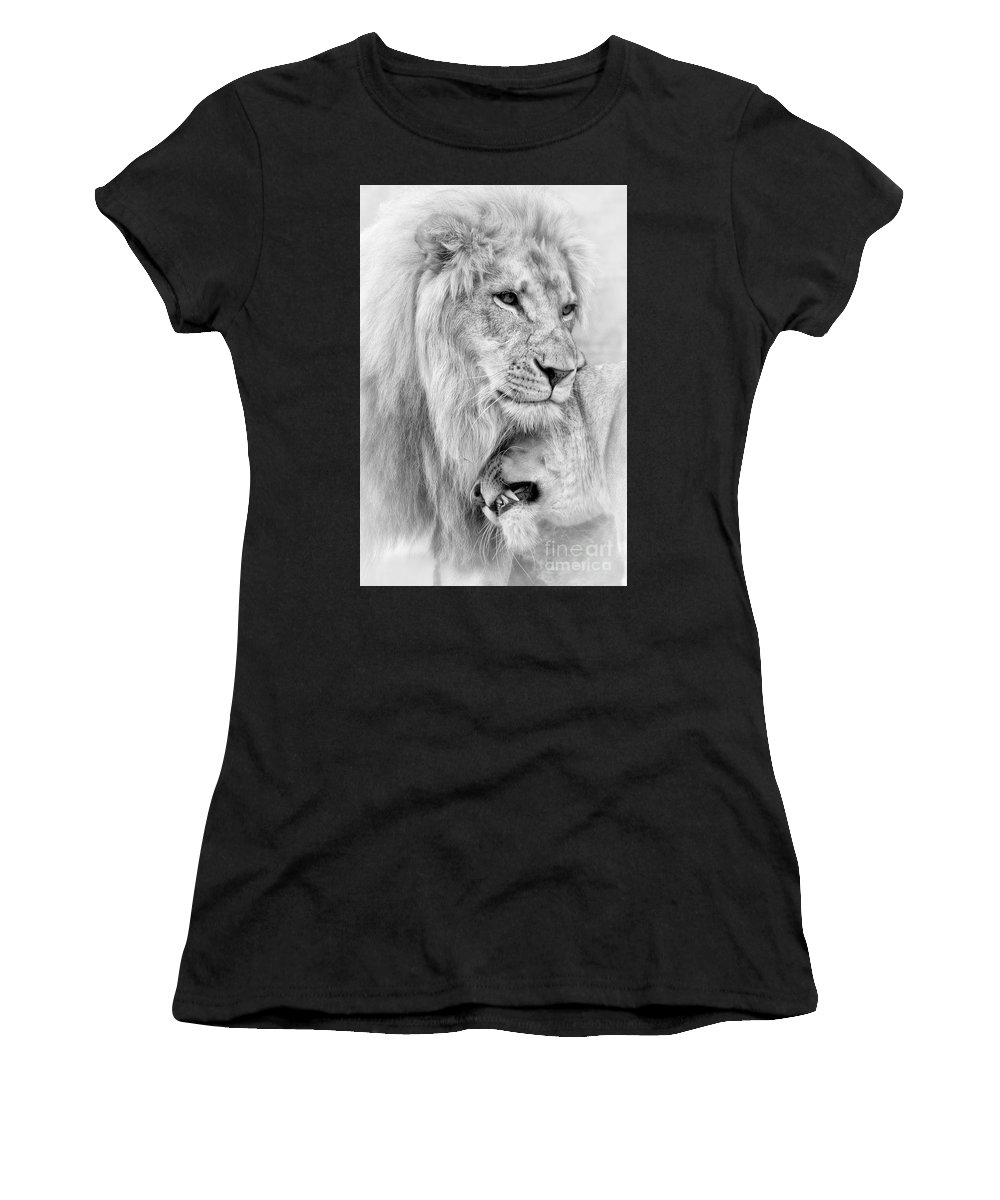 Lions Women's T-Shirt featuring the photograph A Little Loving by Linda D Lester