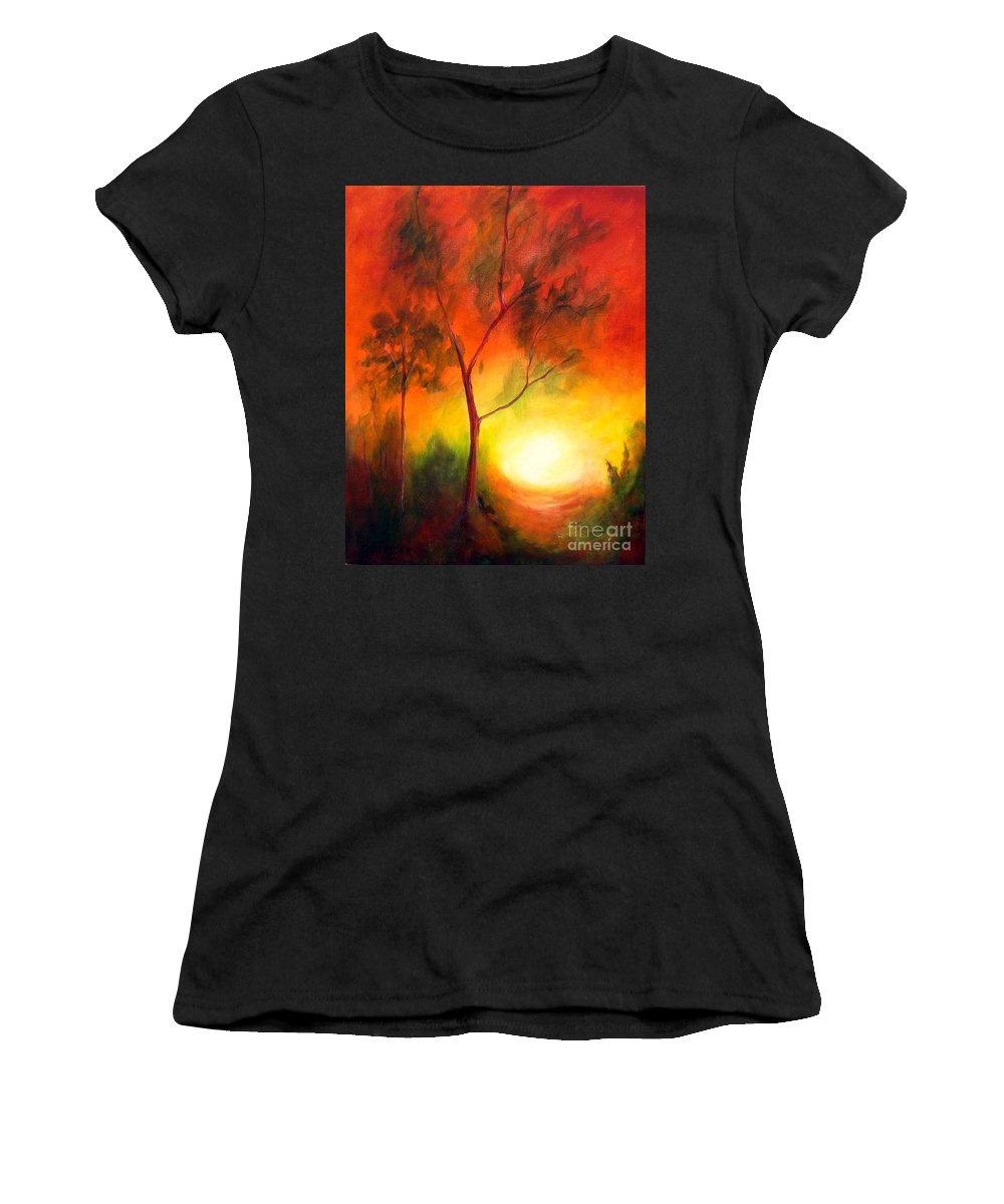 Landscape Women's T-Shirt featuring the painting A New Day by Alison Caltrider