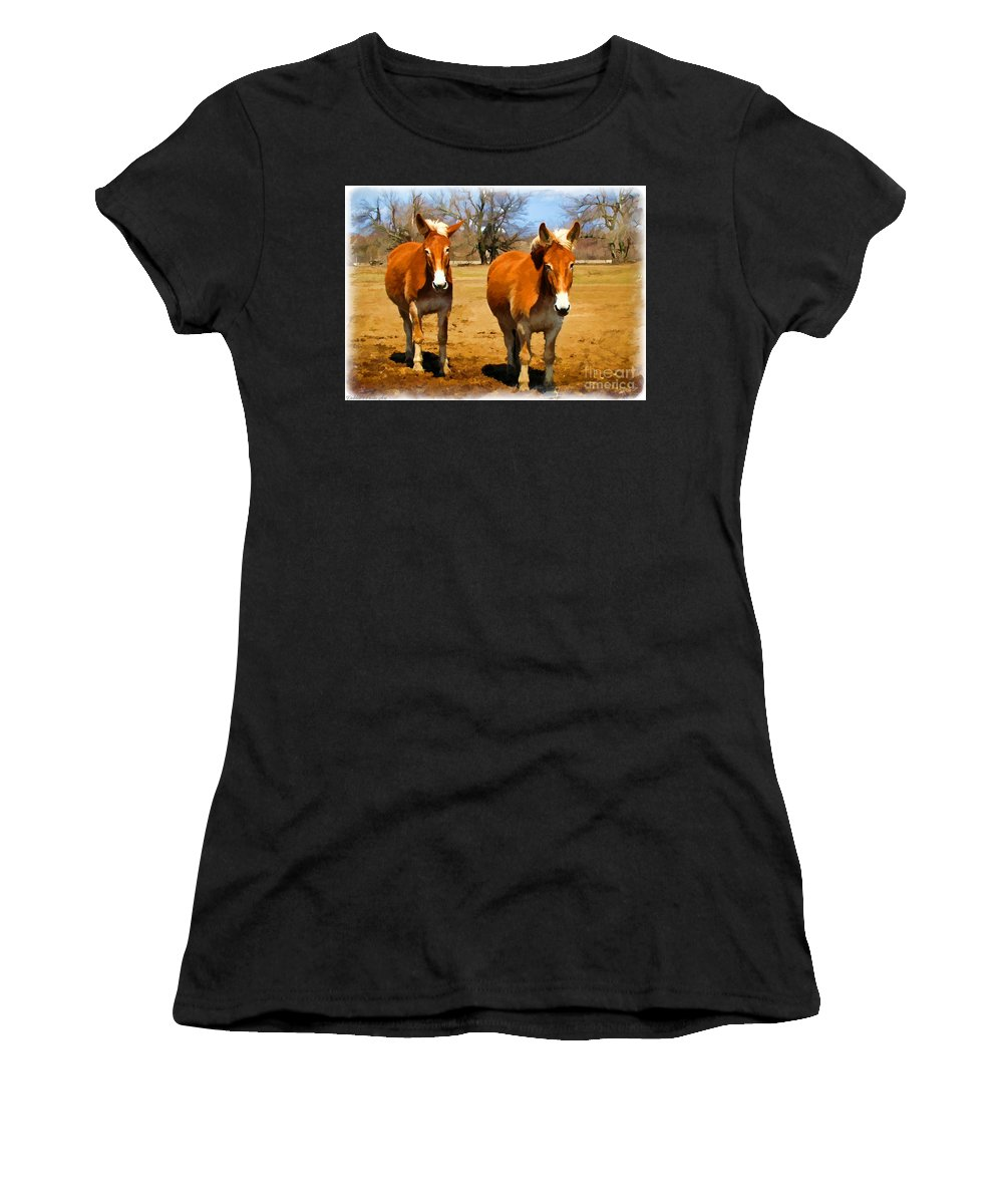 Nature Women's T-Shirt featuring the photograph A Pair Of Mules Digital Paint by Debbie Portwood