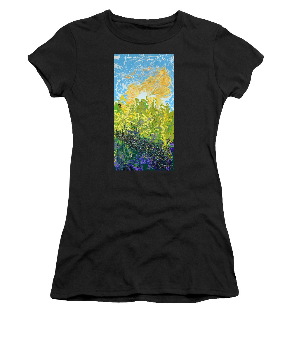 Modern Women's T-Shirt (Athletic Fit) featuring the mixed media A Reflected Sky by Donna Blackhall
