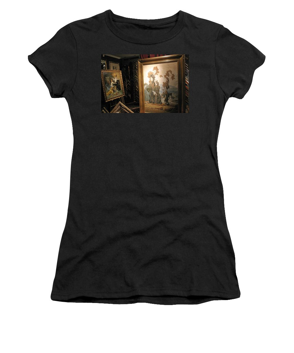 Frame Women's T-Shirt featuring the photograph A Rodeo Frame Shop by Cora Wandel