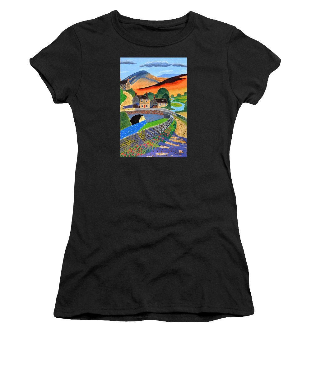 Landscape Women's T-Shirt (Athletic Fit) featuring the painting a Scottish highland lane by Magdalena Frohnsdorff