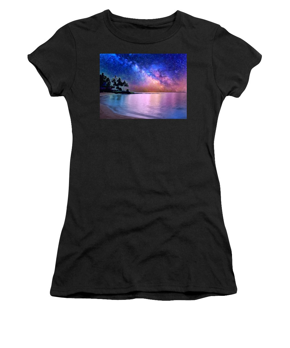 Milky Way Women's T-Shirt (Athletic Fit) featuring the painting A Sea Of Stars At Poipu by Dominic Piperata