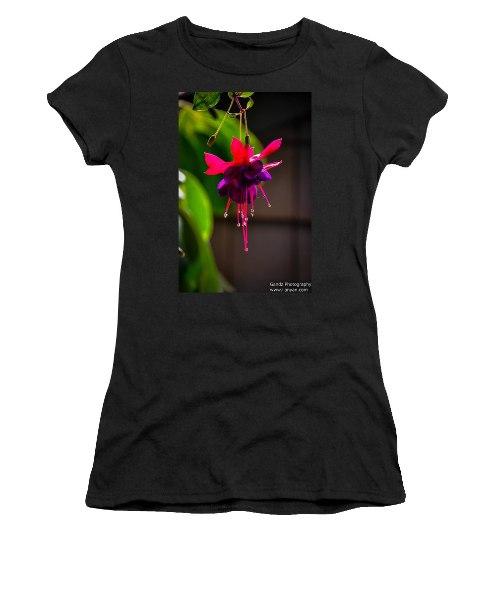 Lake Shrine Women's T-Shirt (Athletic Fit) featuring the photograph A Special Red Flower by Gandz Photography