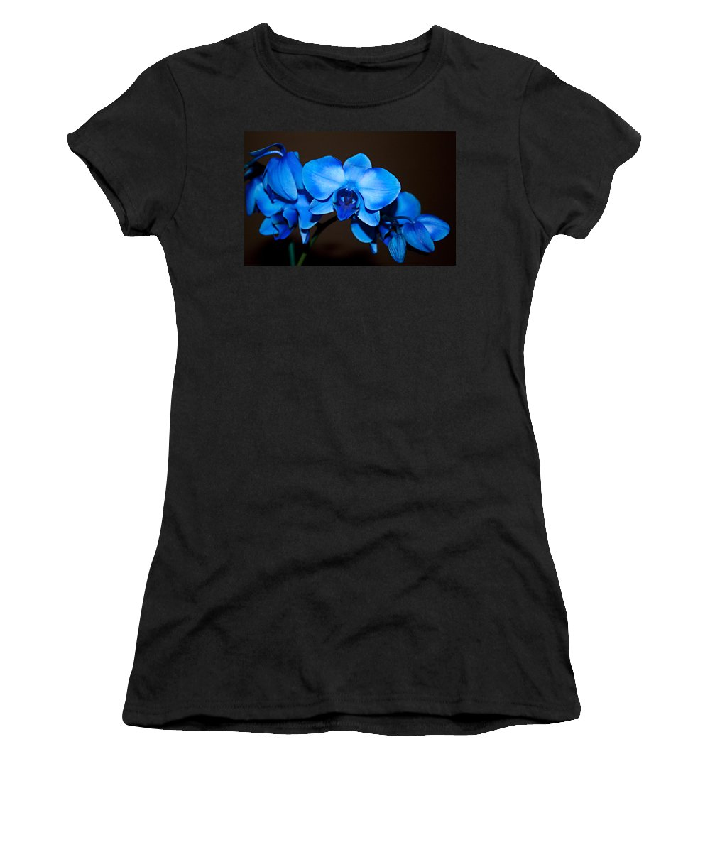 Orchids Women's T-Shirt featuring the photograph A Stem Of Beautiful Blue Orchids by Sherry Hallemeier