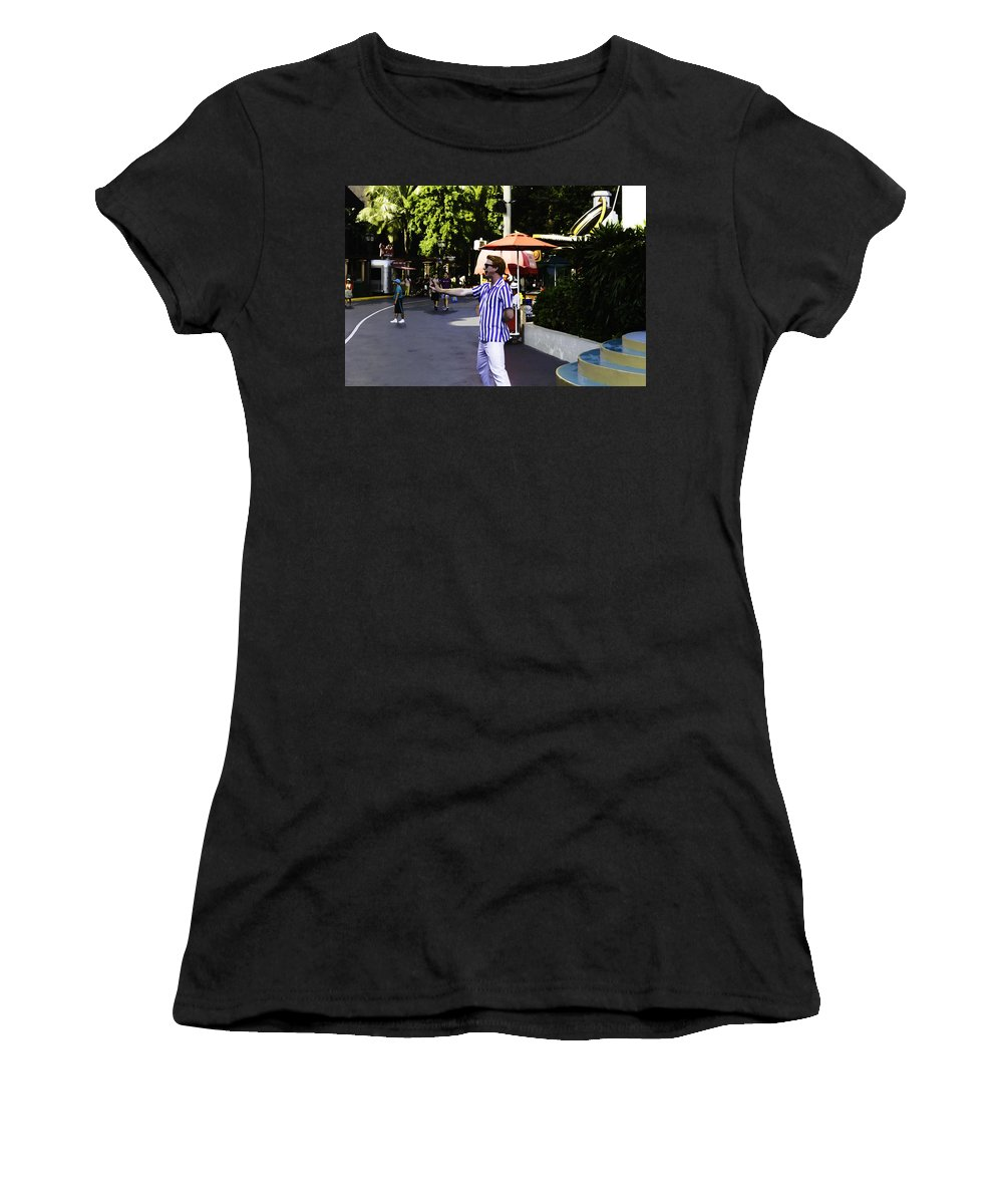Action Women's T-Shirt (Athletic Fit) featuring the digital art A Street Entertainer In The Hollywood Section Of The Universal Studios by Ashish Agarwal