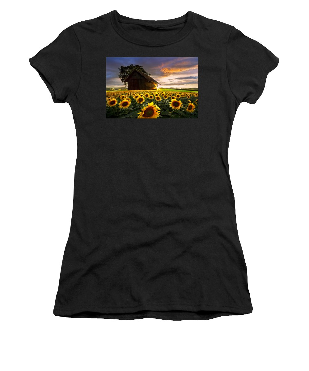 American Women's T-Shirt featuring the photograph A Sunflower Moment by Debra and Dave Vanderlaan