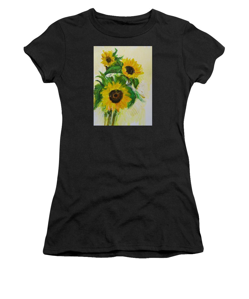 Sunflowers Women's T-Shirt featuring the pastel A Trio Of Sunflowers by Wendy Le Ber