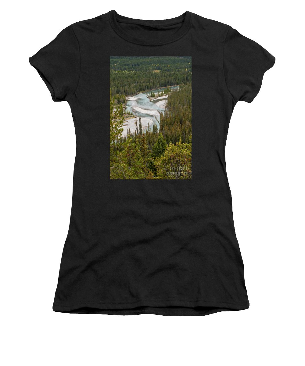 Banff National Park Canada Parks Tree Trees Nature Landscape Landscapes Bow River Rivers Water Sand Women's T-Shirt (Athletic Fit) featuring the photograph A Turn In The Bow River by Bob Phillips
