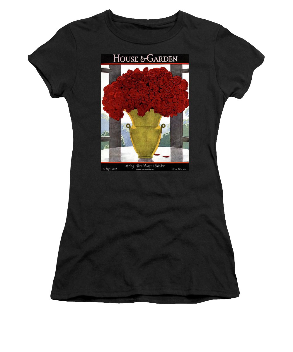 House And Garden Women's T-Shirt featuring the photograph A Vase With Red Roses by Andre E Marty