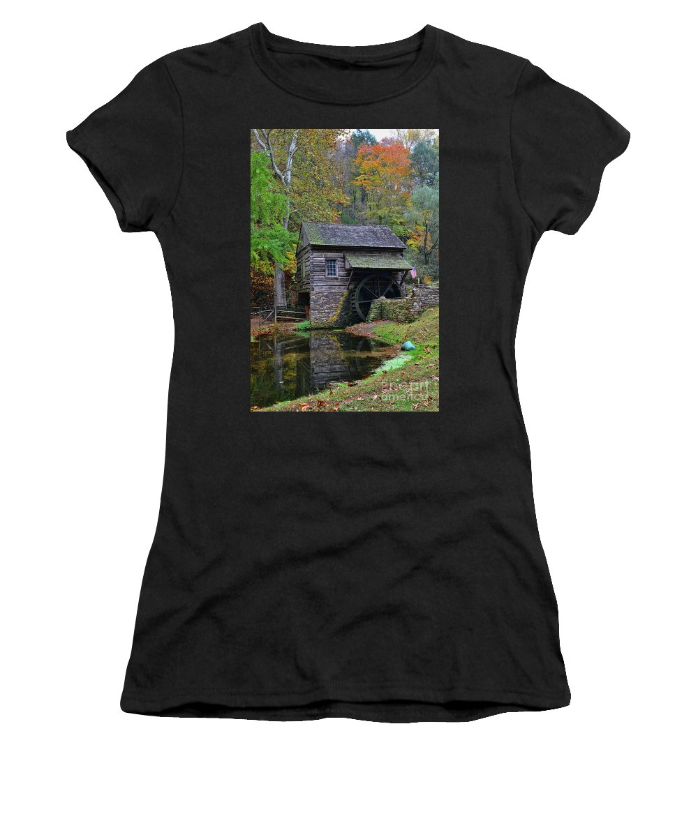 Paul Ward Women's T-Shirt (Athletic Fit) featuring the photograph A Very Old Grist Mill by Paul Ward
