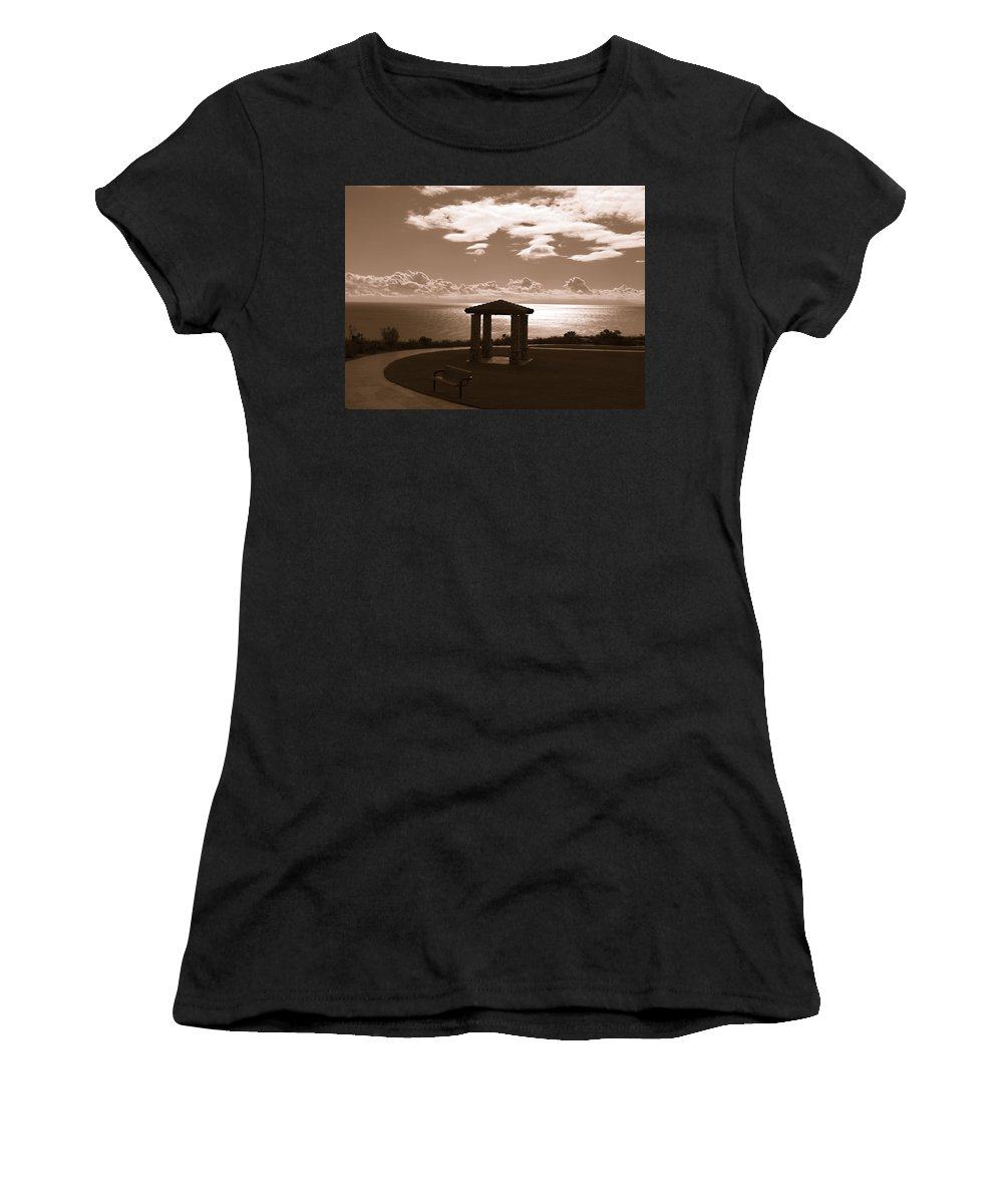 Sepia Women's T-Shirt featuring the photograph A View Of The Pacific by Joe Schofield