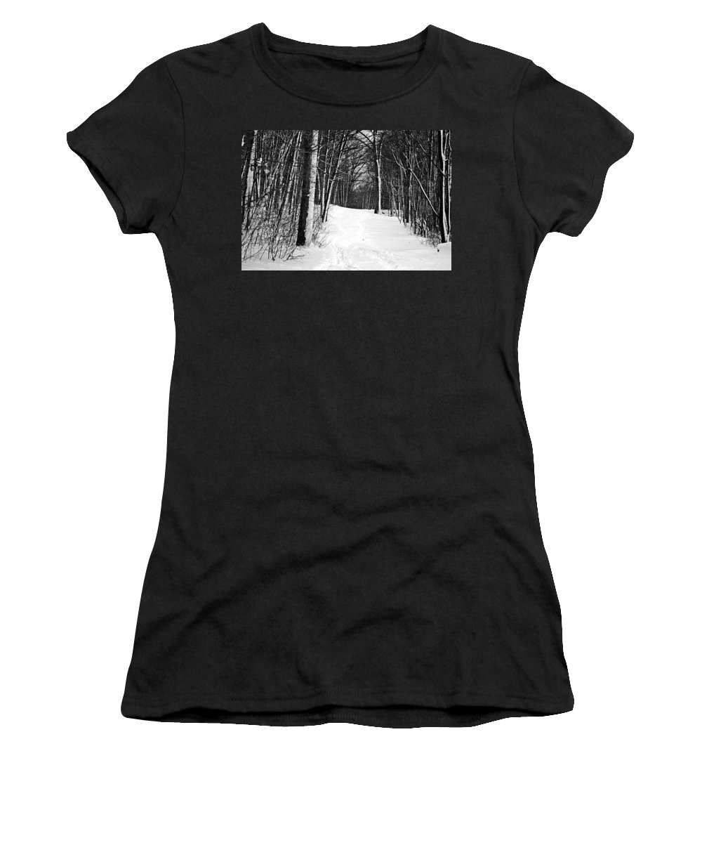 Walk Women's T-Shirt featuring the photograph A Walk In Snow by Joe Faherty