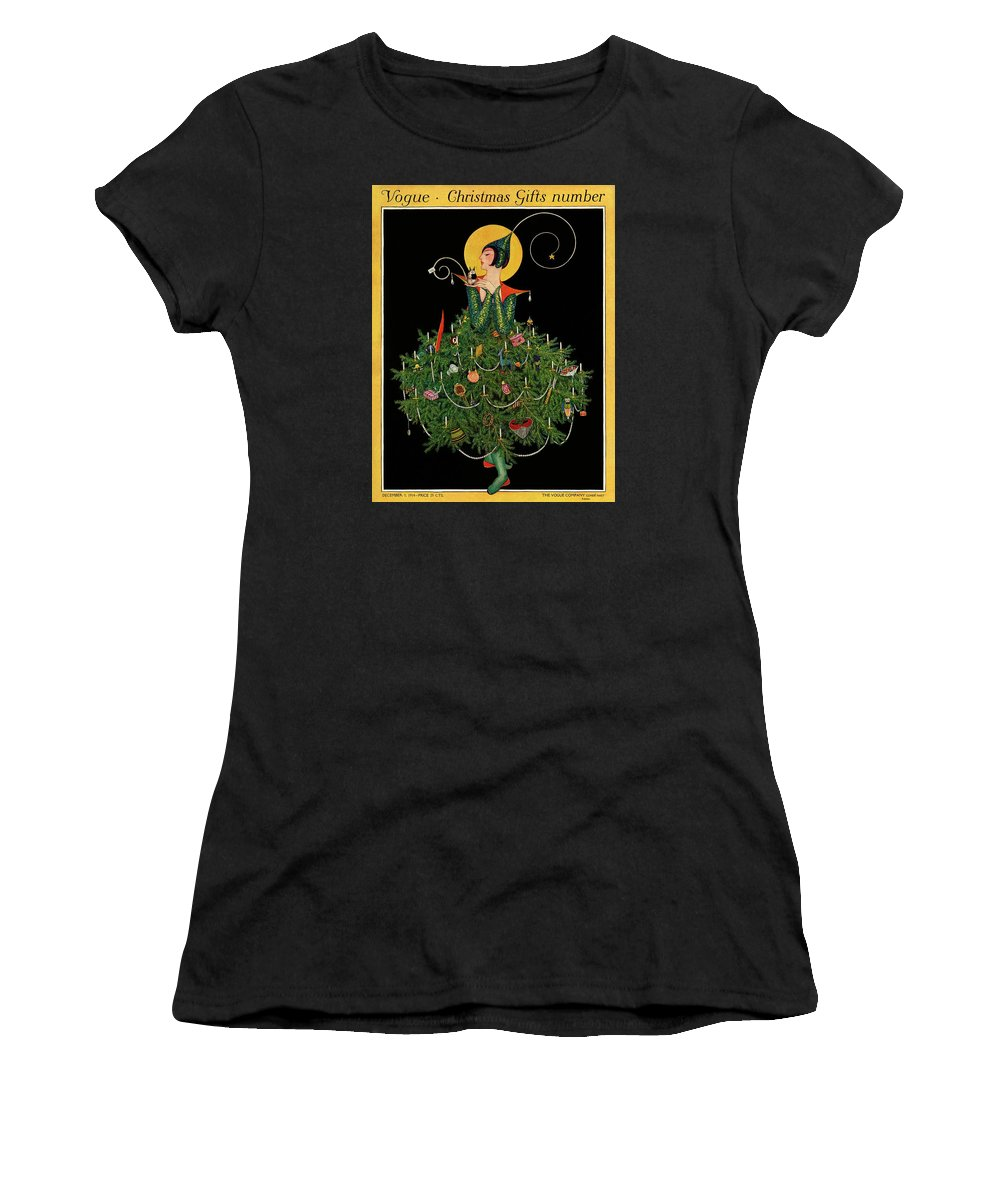 Illustration Women's T-Shirt featuring the painting A Woman Dressed As A Christmas Tree by Artist Unknown