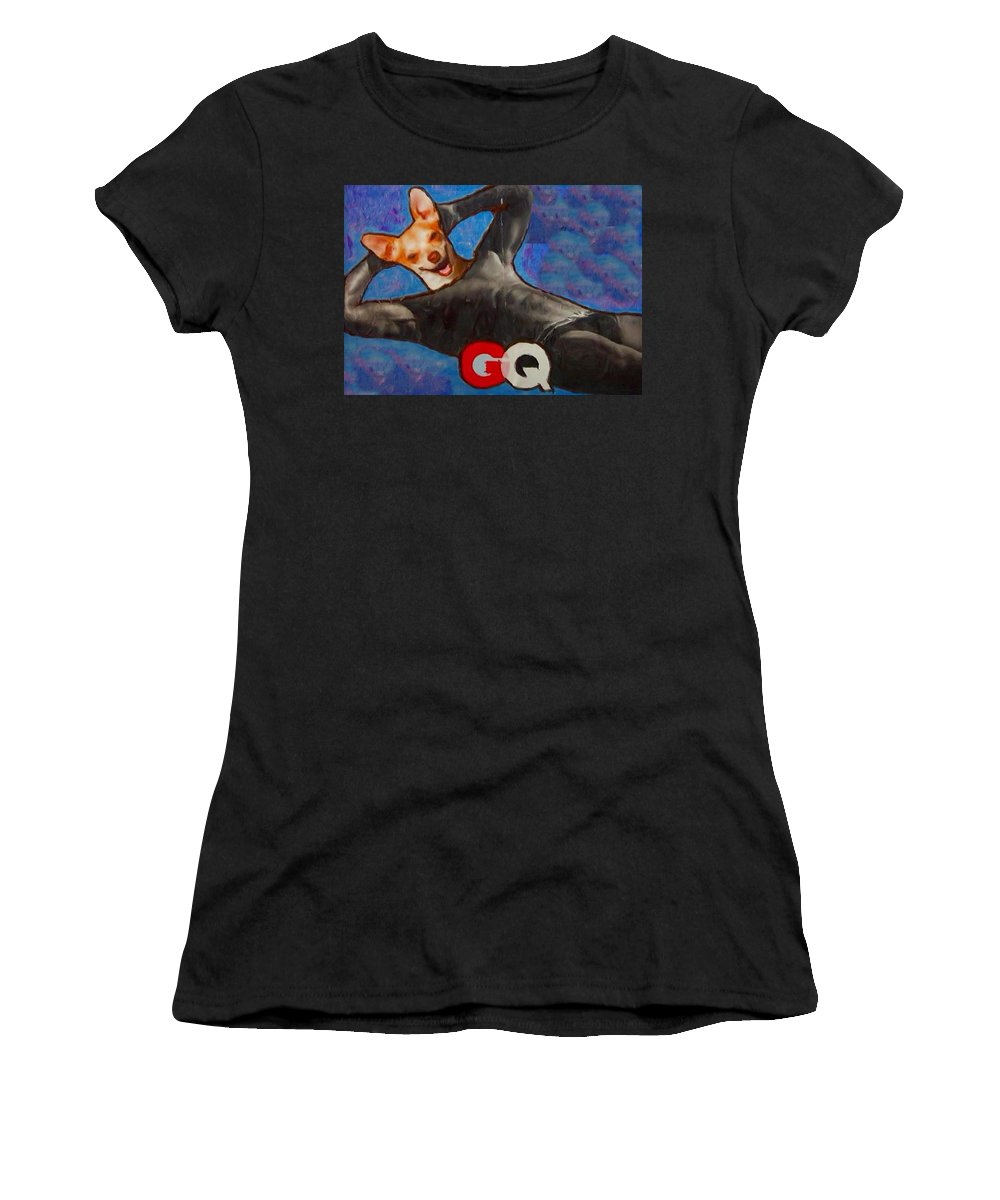 Professional Women's T-Shirt (Athletic Fit) featuring the painting A Woman's Best Friend by Lisa Piper