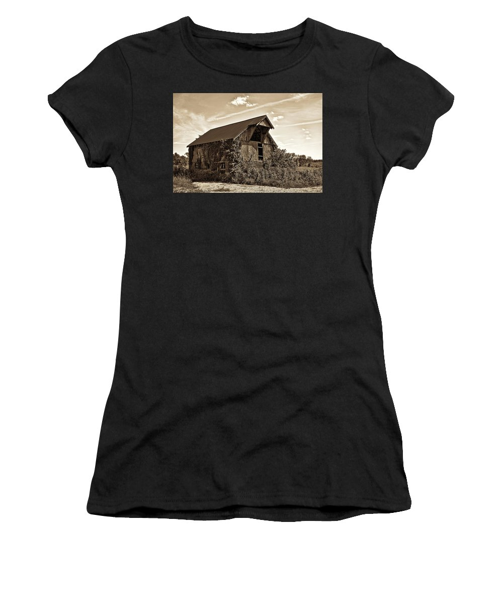 Architecture Women's T-Shirt (Athletic Fit) featuring the photograph Abandoned Barn by Marcia Colelli