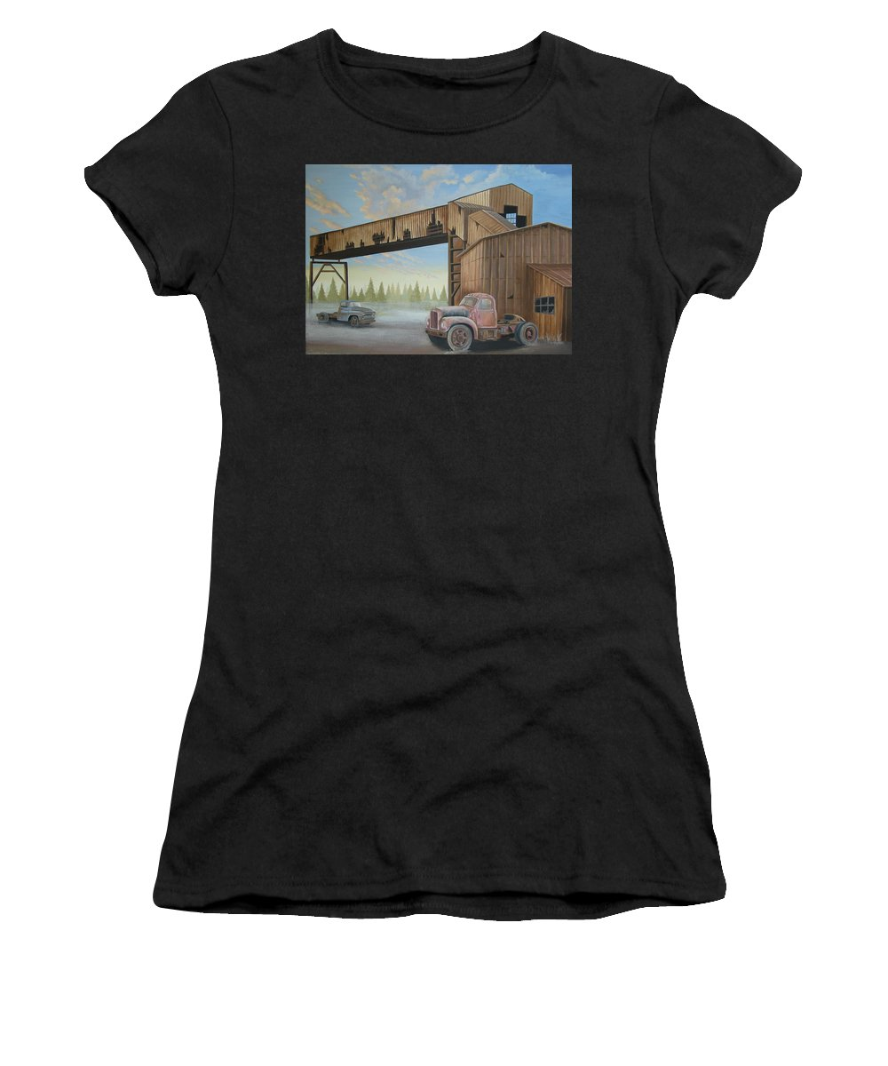 Old Truck Women's T-Shirt (Athletic Fit) featuring the painting Abandoned Mine by Stuart Swartz