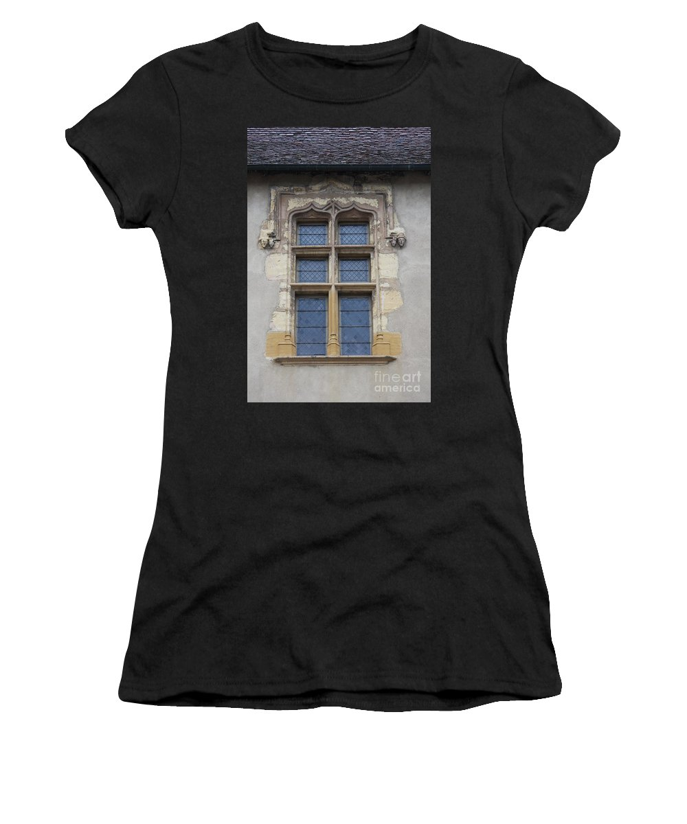 Palace Women's T-Shirt (Athletic Fit) featuring the photograph Abbot Palace Window - Cluny - Burgundy by Christiane Schulze Art And Photography
