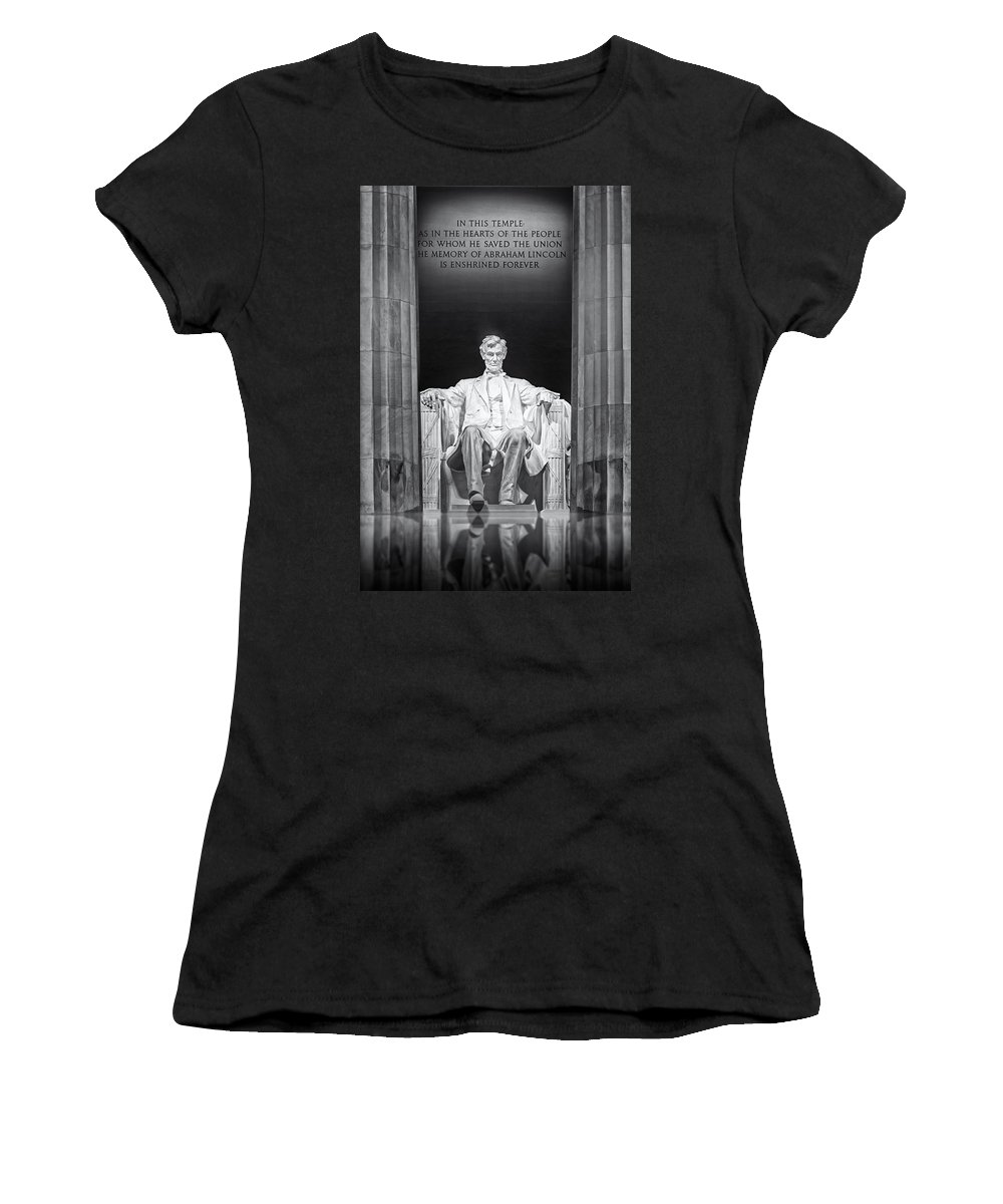 Abraham Lincoln Women's T-Shirt (Athletic Fit) featuring the photograph Abraham Lincoln Memorial by Susan Candelario