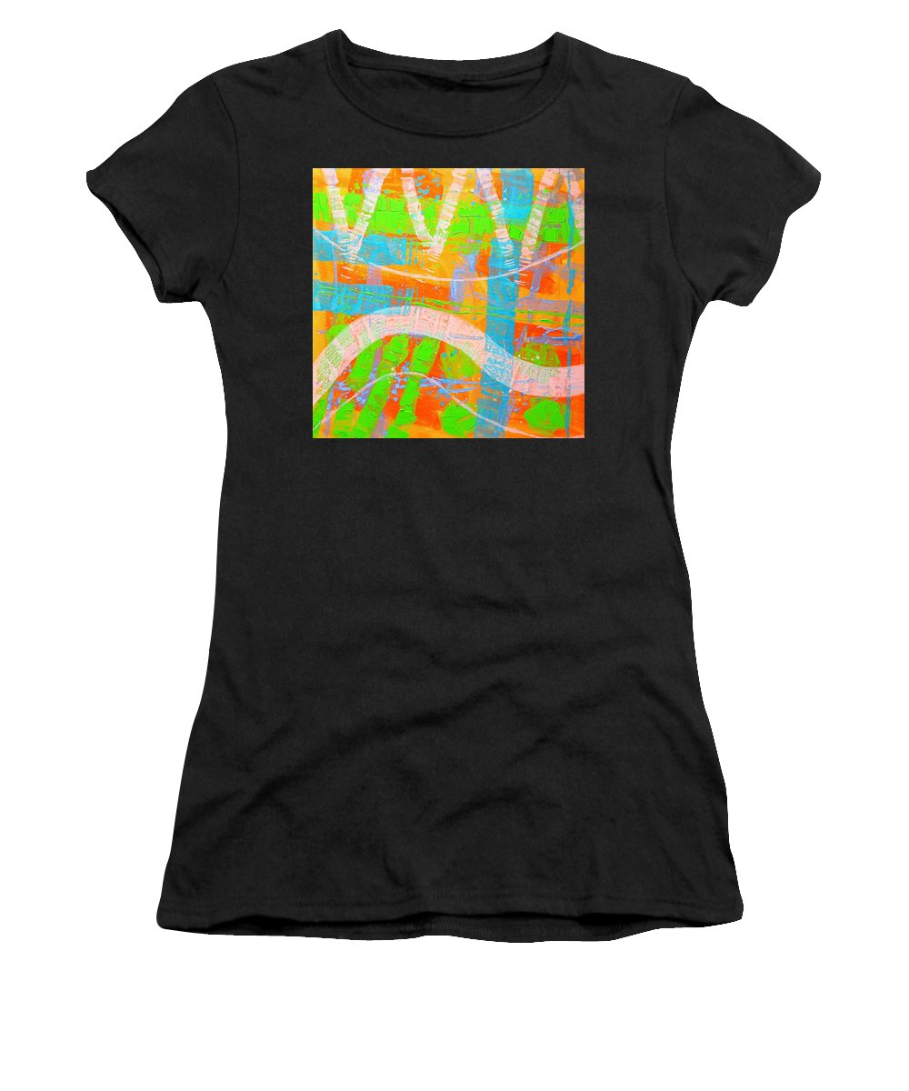 Abstract Women's T-Shirt (Athletic Fit) featuring the painting Abstract 23614  Diptych I by John Nolan