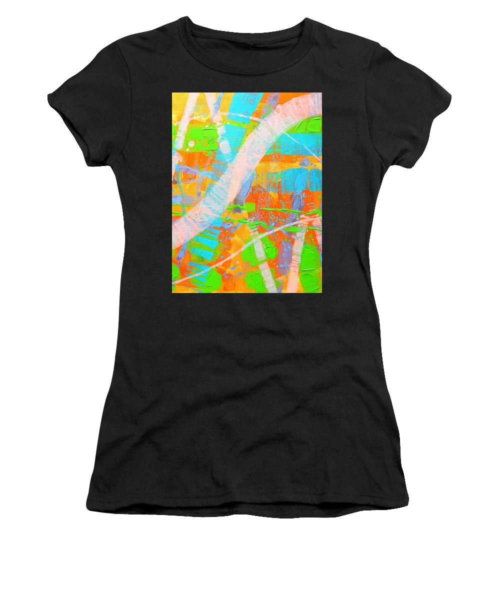 Abstract Women's T-Shirt (Athletic Fit) featuring the painting Abstract 23614 Diptych II by John Nolan