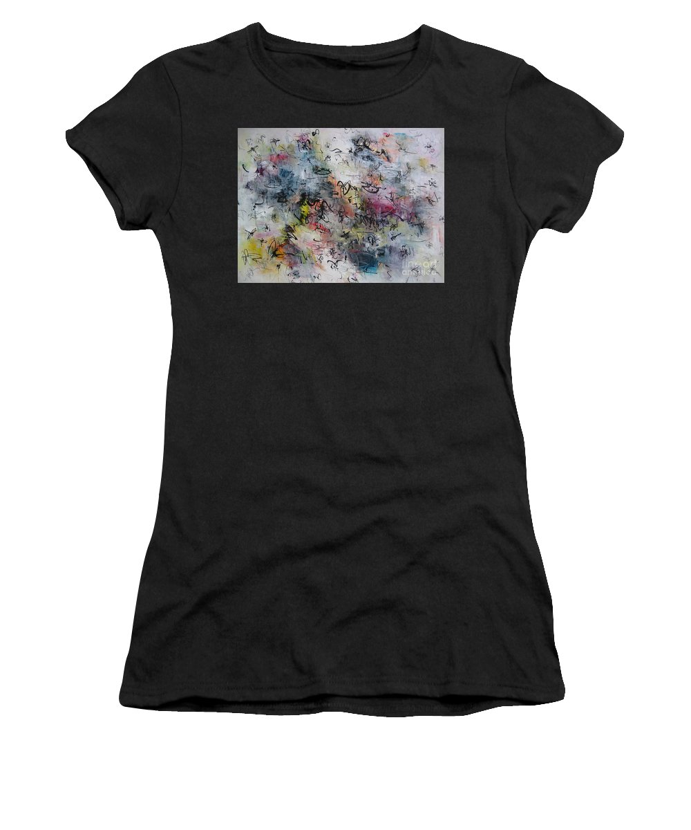Butterfly Paintings Women's T-Shirt featuring the painting Abstract Butterfly Dragonfly Painting by Seon-Jeong Kim