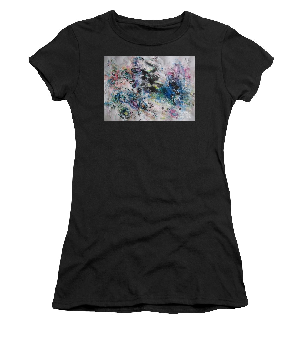 Landscape Abstract Painting Women's T-Shirt featuring the painting Abstract Flower Field Painting Blue Pink Green Purple Black Landscape Painting Modern Acrylic Pastel by Seon-Jeong Kim