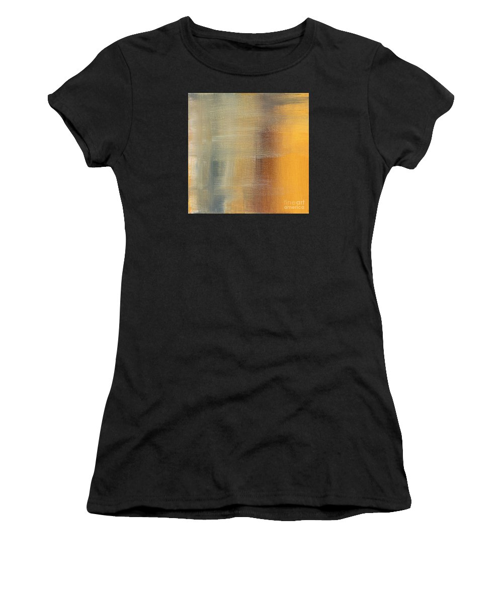 Abstract Women's T-Shirt featuring the painting Abstract Golden Yellow Gray Contemporary Trendy Painting Fluid Gold Abstract I By Madart Studios by Megan Duncanson