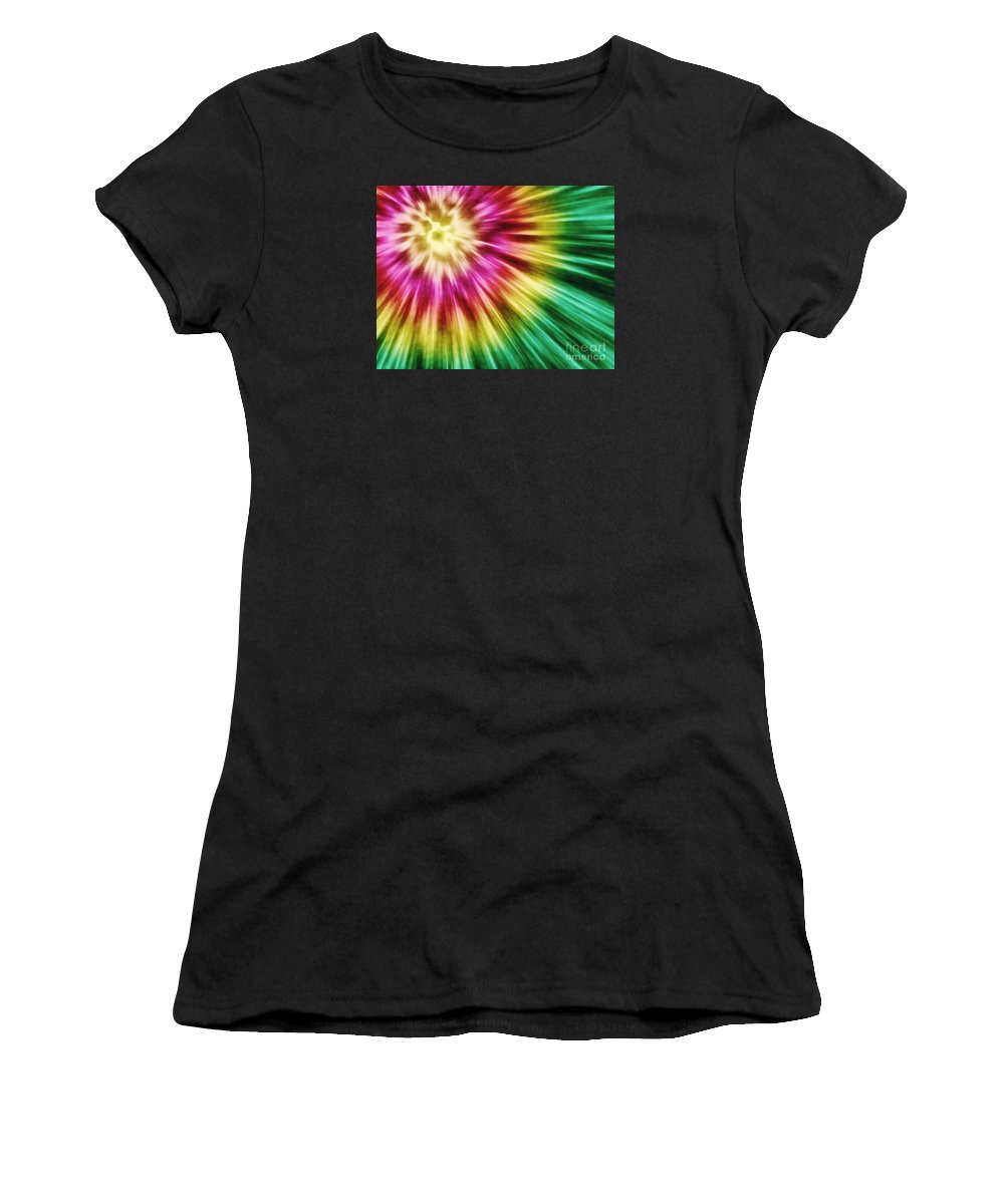 Graphic Design Women's T-Shirt (Athletic Fit) featuring the digital art Abstract Green Tie Dye by Phil Perkins
