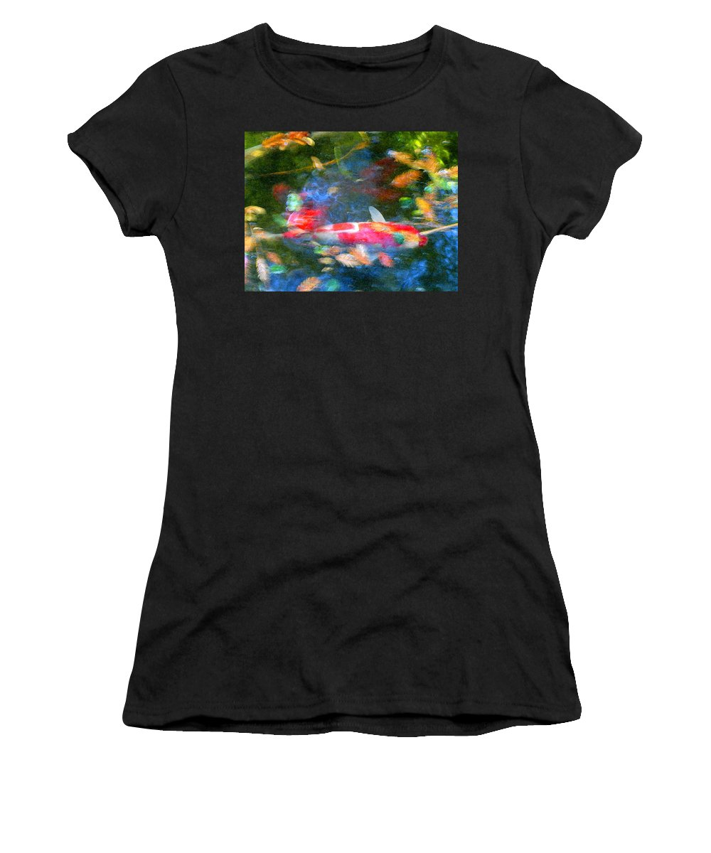 Animal Women's T-Shirt (Athletic Fit) featuring the painting Abstract Koi 1 by Amy Vangsgard