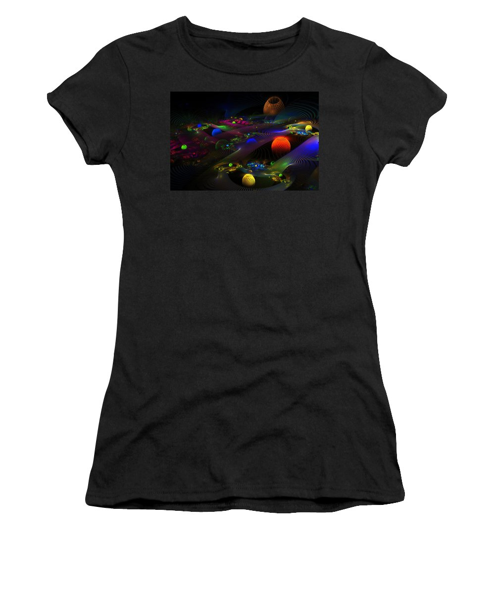 Abstract Psychedelic Fractal Art Women's T-Shirt (Athletic Fit) featuring the photograph Abstract Psychedelic Fractal Art by Keith Webber Jr