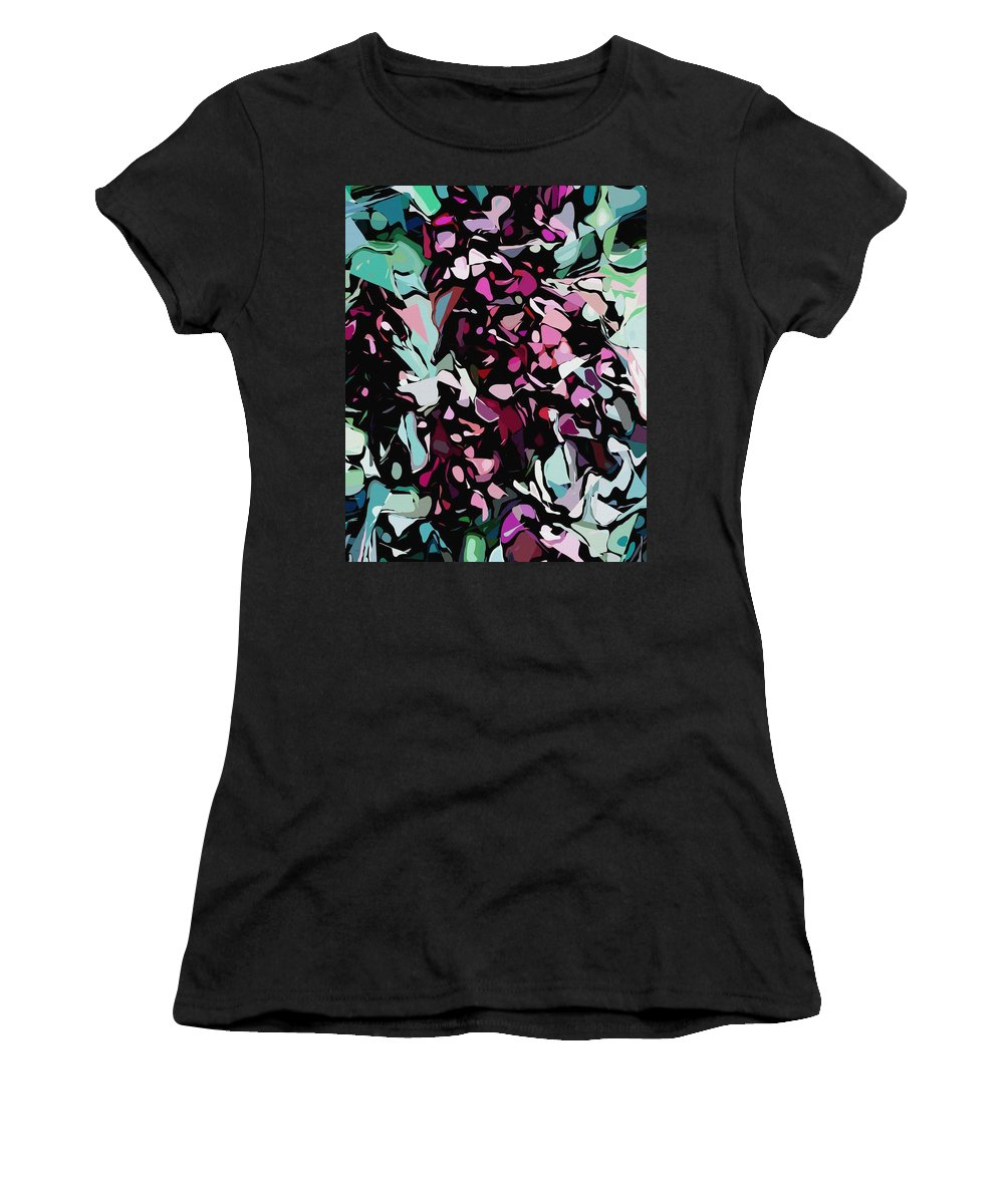 Fine Art Women's T-Shirt featuring the digital art Abstraction Red And Green by David Lane