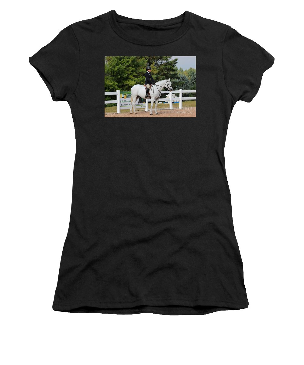 Horse Women's T-Shirt (Athletic Fit) featuring the photograph Ac-hunter3 by Janice Byer