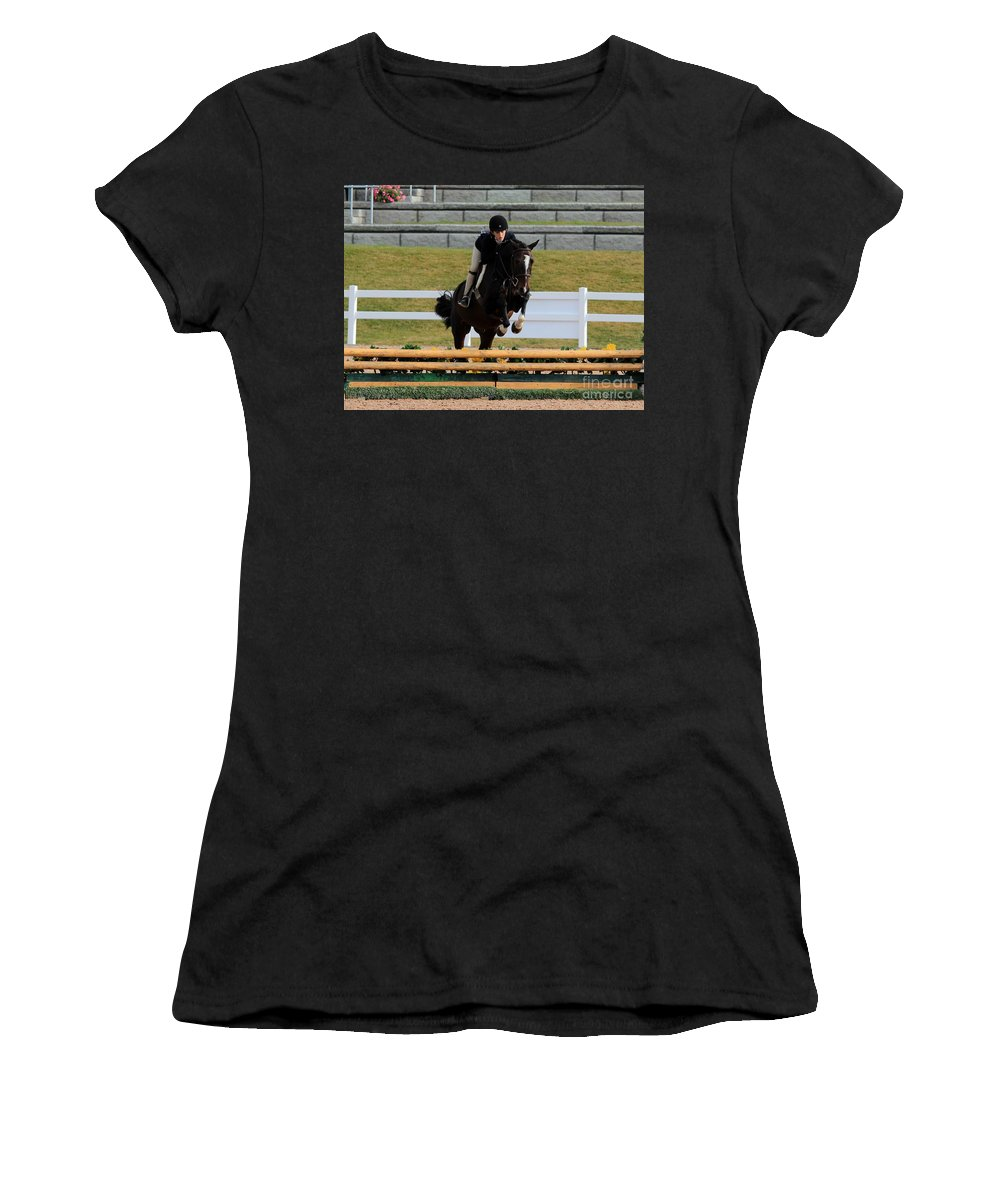 Horse Women's T-Shirt (Athletic Fit) featuring the photograph Ac-hunter9 by Janice Byer