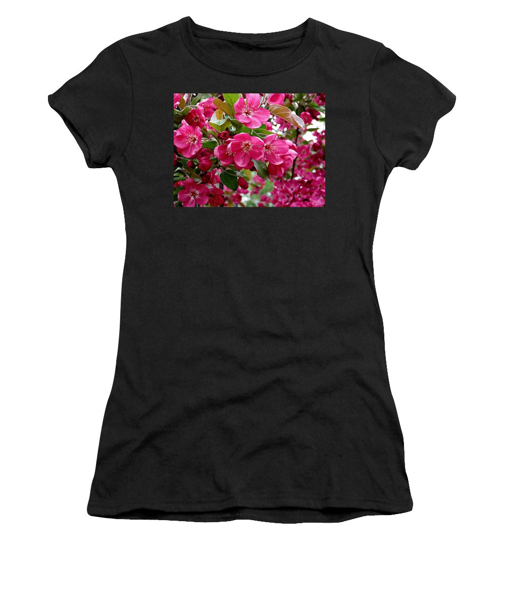 Adams Crabapple Blossoms Women's T-Shirt (Athletic Fit) featuring the photograph Adams Crabapple Blossoms by MTBobbins Photography