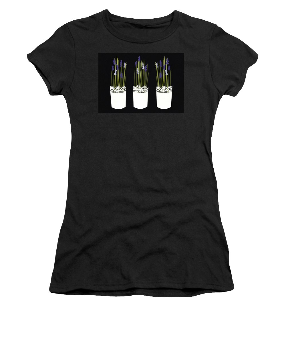 Lavender Women's T-Shirt featuring the mixed media Lavender Pots by Isobel Barber
