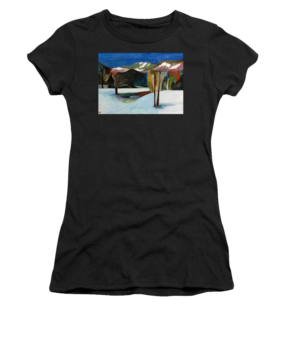 Adirondack Mountains Women's T-Shirt (Athletic Fit) featuring the painting Adirondacks by Betty Pieper