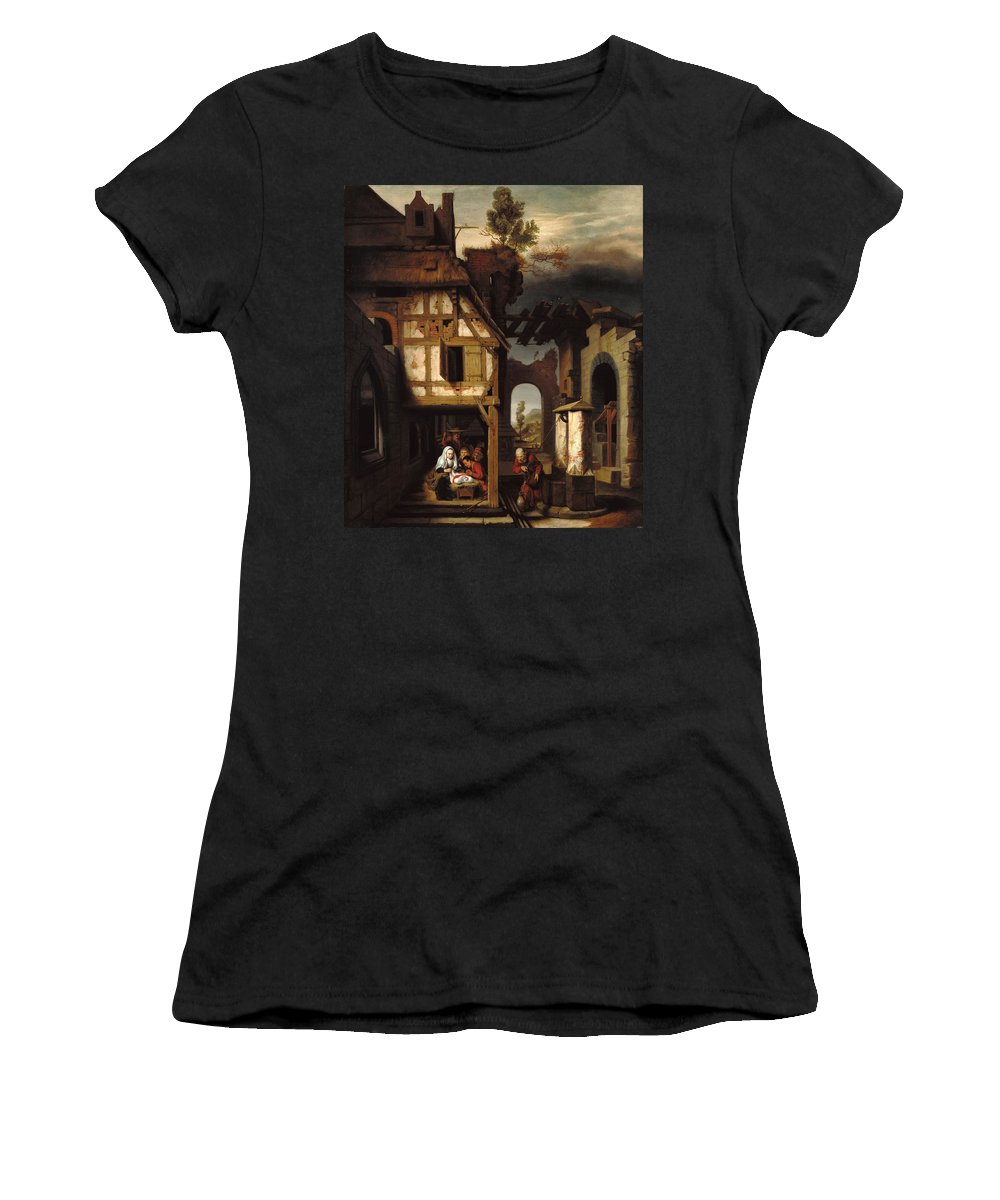 Nicolaes Maes Women's T-Shirt (Athletic Fit) featuring the painting Adoration Of The Shepherds by Nicolaes Maes