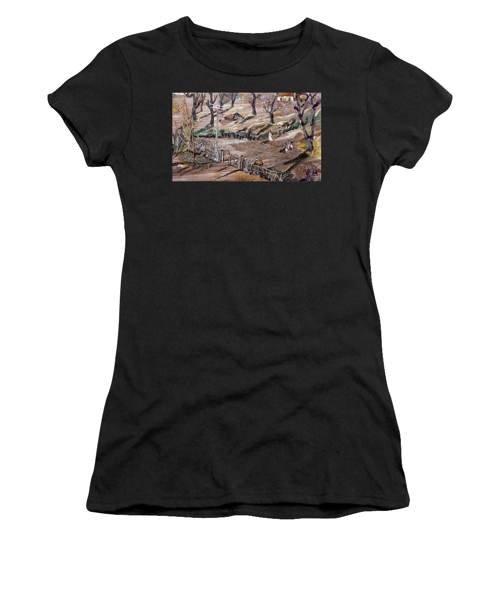 Uneven Ground Women's T-Shirt (Athletic Fit) featuring the mixed media Affect Of Global Warming by Basant Soni