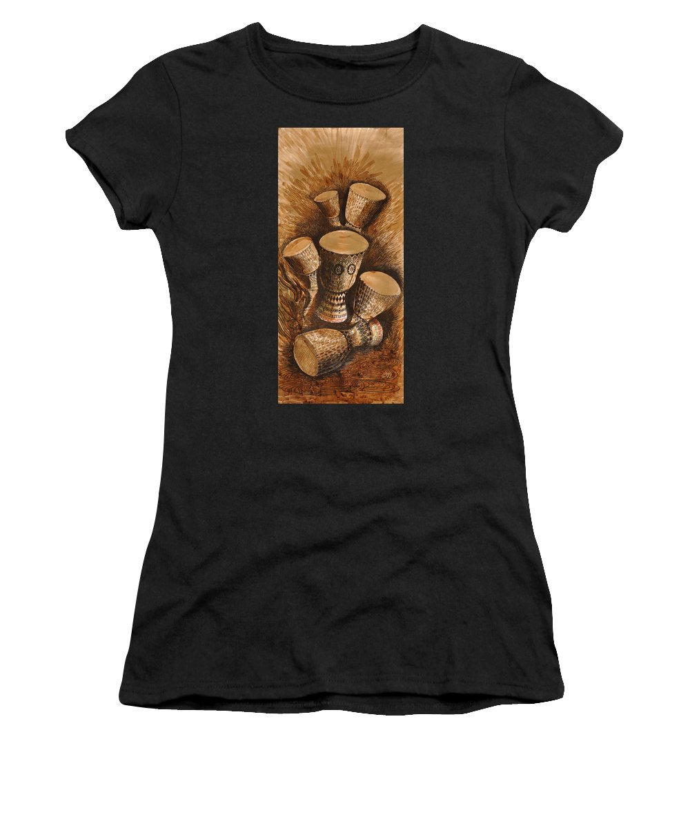 African Women's T-Shirt featuring the drawing African Drums by Julius Sakwa
