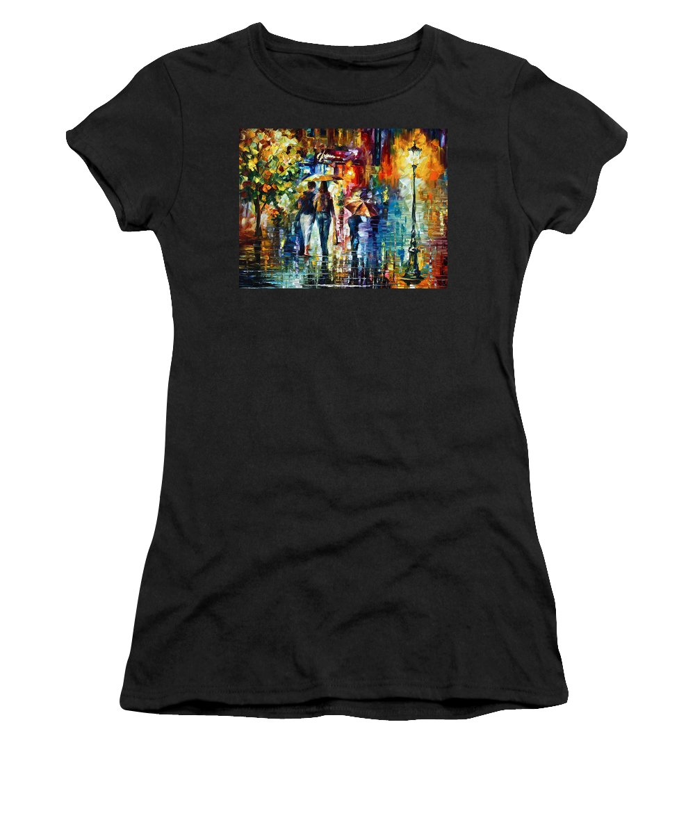 City Women's T-Shirt featuring the painting After Hours by Leonid Afremov