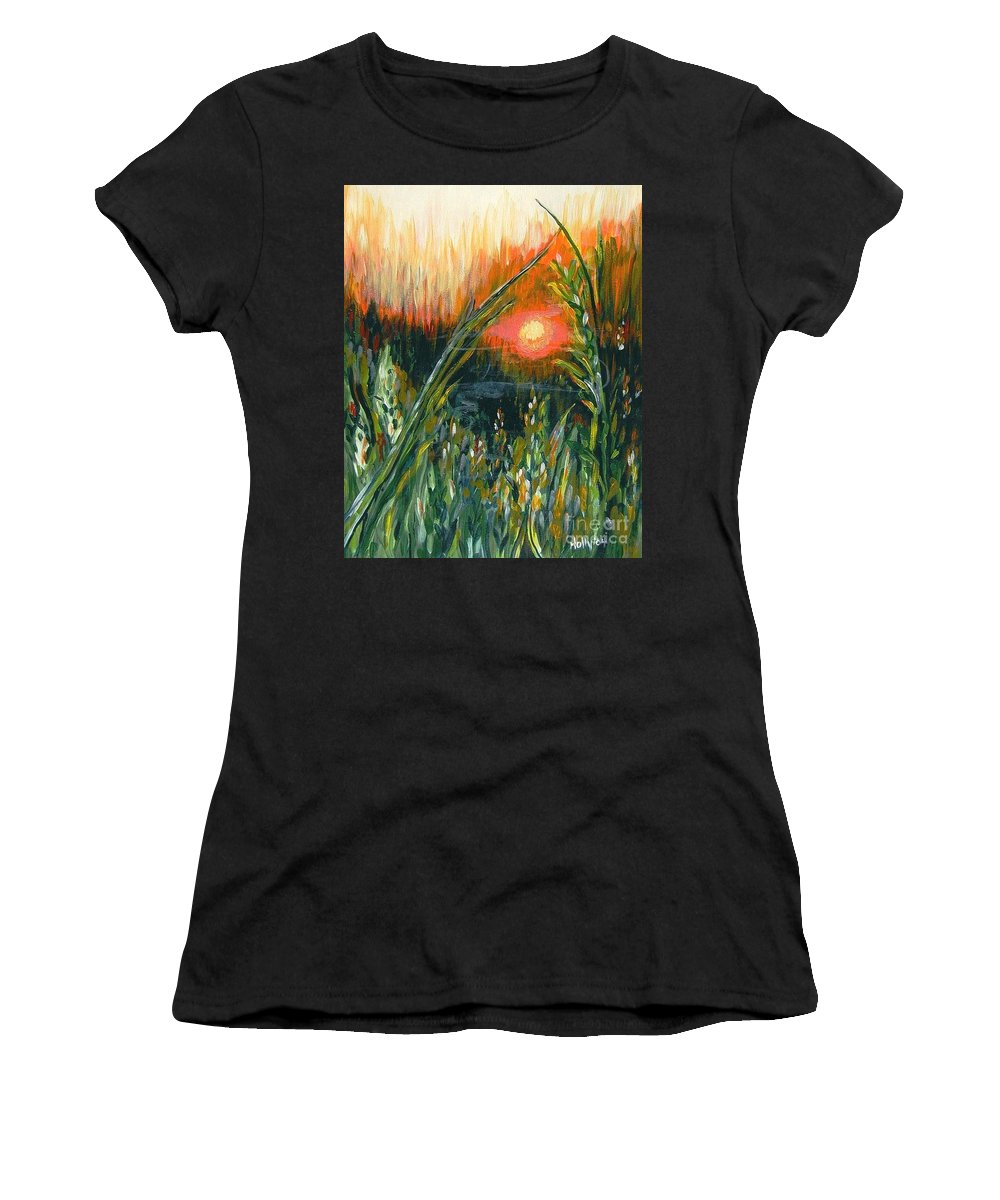 Fire Women's T-Shirt (Athletic Fit) featuring the painting After The Fire by Holly Carmichael